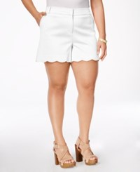 Stoosh Plus Size Scalloped Shorts White