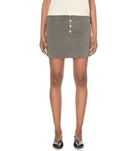 J Brand Rosalie Stretch Denim Skirt Distressed Silver Fox