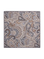 Paul Costelloe Portland Paisley Wool Pocket Square Grey