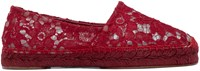 Dolce And Gabbana Red Lace Espadrilles