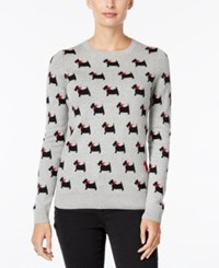 Charter Club Dog Print Sweater Only At Macy's Heather Platinum Combo