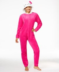 Hello Kitty Super Plush Hooded Jumpsuit Hot Pink
