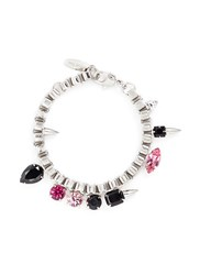 Joomi Lim 'Organized Chaos' Spike Stud Crystal Chain Bracelet Metallic Multi Colour