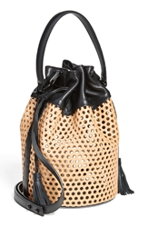 Loeffler Randall 'Industry Handheld' Openwork Leather Bucket Bag Natural Black