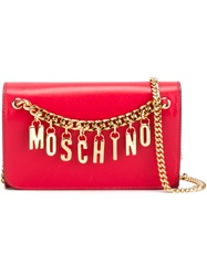 Moschino Logo Chain Wallet Red