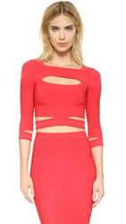 Cushnie Et Ochs Cropped Slashed Knit Top Red