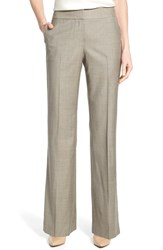 Classiques Entier Women's Superfine Wool Flare Leg Suit Pants Beige Grey Superfine Wool
