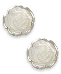 Macy's Sterling Silver Earrings Mother Of Pearl Flower Earrings