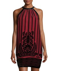 Max Studio Halter Neck Flocked Shift Dress Red Black