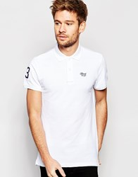 Blend Of America Blend Polo Slim Fit Washed Pique Logo Embroid In White White