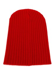 The Elder Statesman Ribbed Beanie Hat Red
