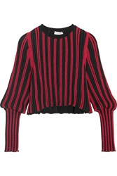 Sonia Rykiel Metallic Striped Stretch Knit Top Red
