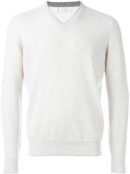 Brunello Cucinelli V Neck Jumper Nude And Neutrals