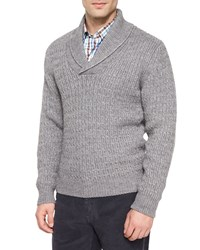 Peter Millar Shawl Collar Cable Knit Pullover Sweater Charcoal Grey