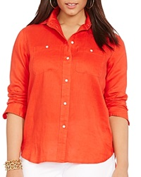 Lauren Ralph Lauren Plus Linen Button Down Shirt Cabana Orange