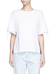 Clu Too Check Flannel Back Drawstring Jersey T Shirt White