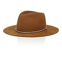 Janessa Leone Women's Savoy Wide Brim Wool Fedora Brown