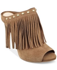 Guess By Marciano Guess Women's Ara Fringe Mules Women's Shoes Brown Suede