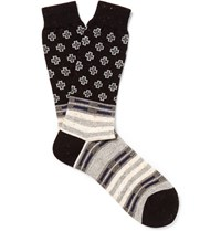 Anonymous Ism Patterned Knitted Socks Black