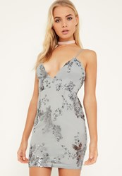 Missguided Grey Sequin Strappy Shift Dress
