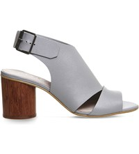Office Mojito Leather Cylindrical Heeled Sandals Grey Leather