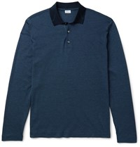 Brioni Cotton And Silk Blend Pique Polo Shirt Blue