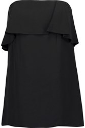 A.L.C. Derby Strapless Ruffled Crepe Top Black
