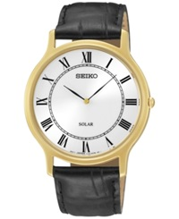 Seiko Men's Solar Black Leather Strap Watch 38Mm Sup878