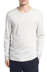 Men's Vince Mixed Stitch Long Sleeve T Shirt Heather White Heather White