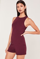 Missguided Ribbed Racer Neck Playsuit Burgundy Burgundy