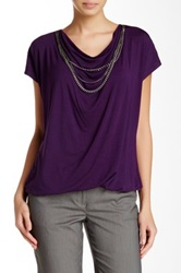 Laundry By Shelli Segal Draped Chain Accent Blouse Purple
