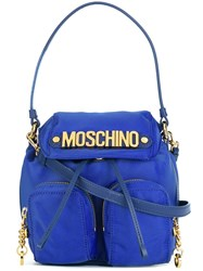 Moschino Logo Plaque Backpack Tote Blue