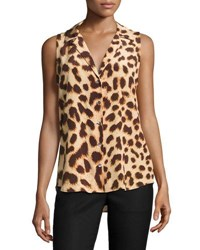 Equipment Adalyn Cheetah Print Sleeveless Silk Blouse