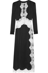Alessandra Rich Lace Trimmed Satin Gown Black