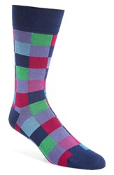 Bugatchi Men's Check Socks Purple Navy