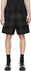 Kidill Grey And Blue Wool Plaid Shorts