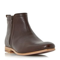 Linea Medal Side Zip Detail Leather Boots Tan