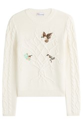 Red Valentino Cotton Cable Knit Pullover With Embroidered Birds Beige