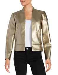 Tahari By Arthur S. Levine Faux Leather Open Front Jacket Gold