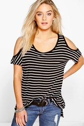 Boohoo Stripe Cold Shoulder Tee Black