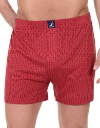 Nautica Patterned Cotton Boxers Red Anchor