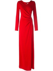 Lanvin Draped Evening Dress Red