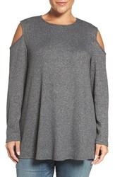 Bobeau Plus Size Women's Long Sleeve Cold Shoulder Top Charcoal