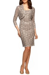Petite Women's Alex Evenings Sequin Lace Sheath Dress And Bolero