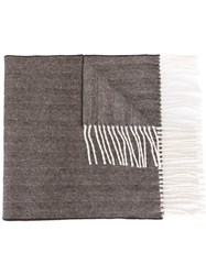 Dsquared2 Striped Fringe Scarf Brown