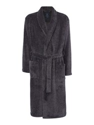 Howick Men's Classic Charcoal Marl Fleece Robe Charcoal