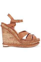 Paloma Barcelo Woven Trimmed Leather Wedge Sandals Brown