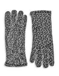 Cejon Insulated Velvet Leopard Print Gloves Grey