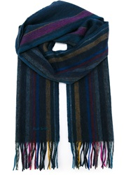 Paul Smith Striped Fringed Scarf Blue