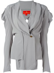 Vivienne Westwood Red Label V Neck Draped Buttoned Blouse Grey
